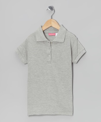 Heather Gray Johnny Pique Polo - Girls