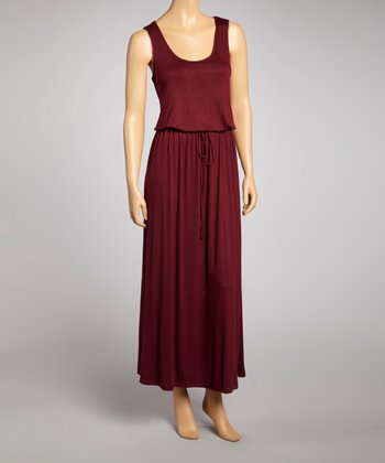 Dark Red Sleeveless Maxi Dress