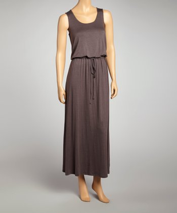 Coffee Sleeveless Maxi Dress