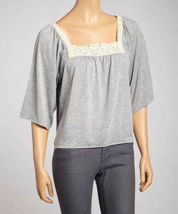 Light Gray Lace Crocheted Top