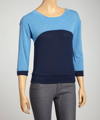 Blue Color Block Sweater