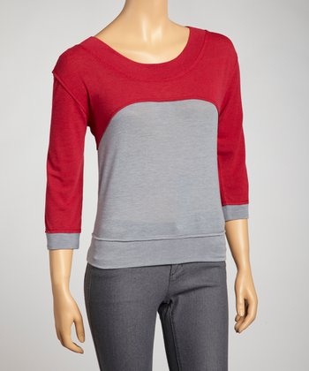Red Color Block Sweater