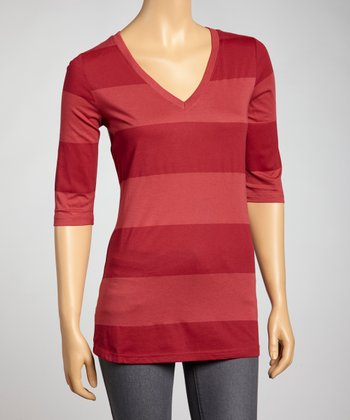 Red Stripe V-Neck Top