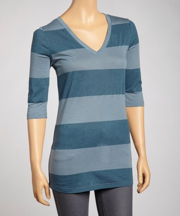 Blue Stripe V-Neck Top