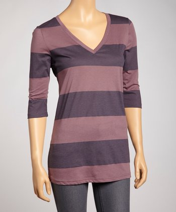 Purple Stripe V-Neck Top