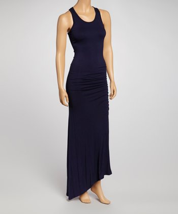 Navy Scoop Neck Maxi Dress