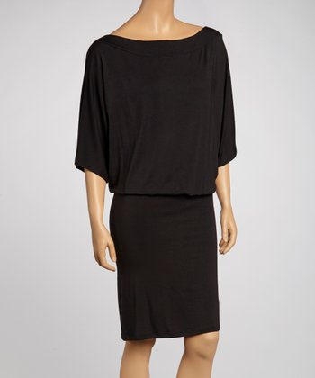 Black Cape-Sleeve Dress