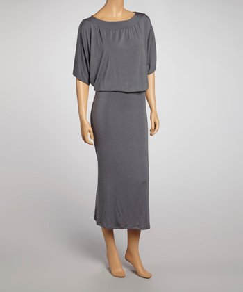 Charcoal Cape-Sleeve Maxi Dress