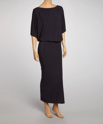 Navy Cape-Sleeve Maxi Dress