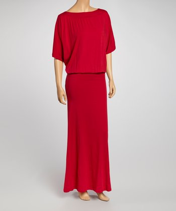 Red Cape-Sleeve Maxi Dress