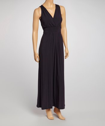 Navy Surplice Maxi Dress