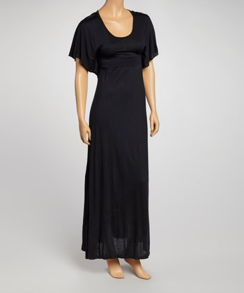 Black Cape-Sleeve Maxi Dress