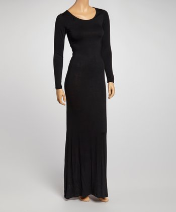 Black Long-Sleeve Maxi Dress