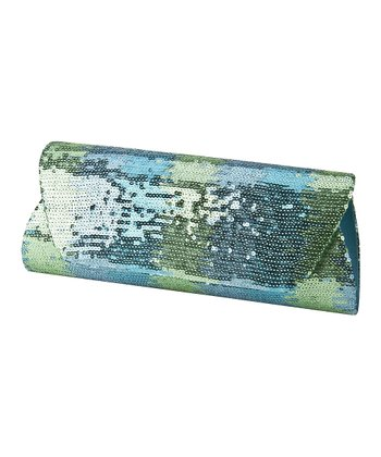 Aqua Ombré Sequin Clutch