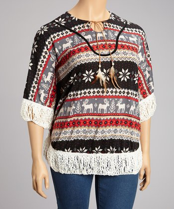 Black Tribal Crochet Dolman Top - Plus