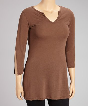 Brown V-Neck Tunic - Plus
