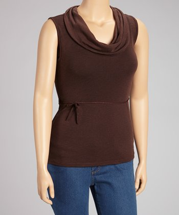 Brown Sleeveless Drape Neck Top - Plus