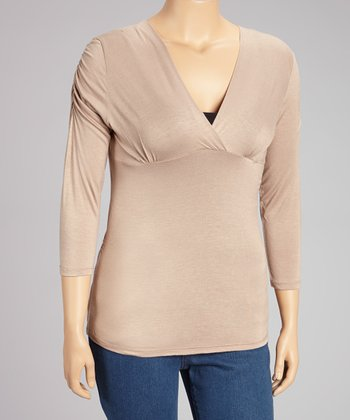 Beige Surplice Top - Plus