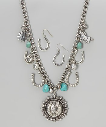 Silver Horseshoe Necklace & Earrings