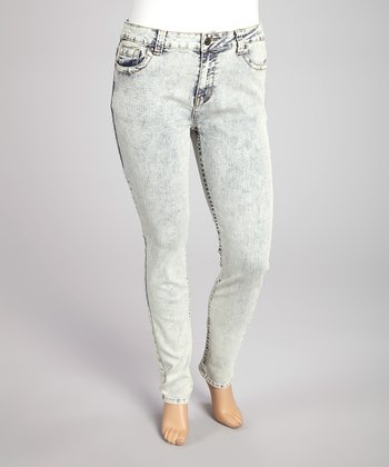 Antique Wash Denim Jeans - Plus