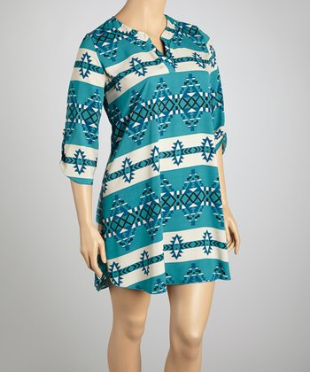 Blue Tribal V-Neck Dress - Plus