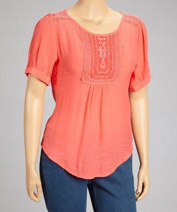 Coral Smocked Top - Plus
