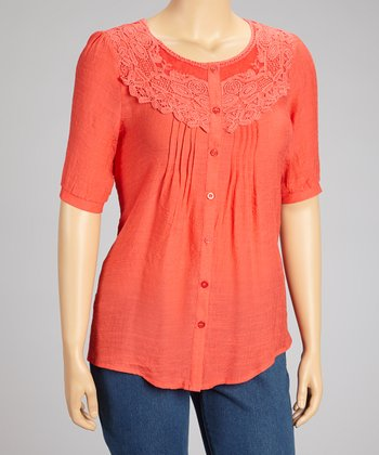 Coral Crocheted Top - Plus