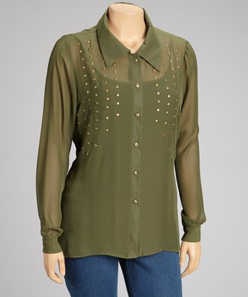 Olive Sheer Cutout Button-Up - Plus