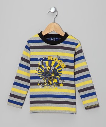 Gris & Yellow Stripe 'Rock Star' Tee - Toddler & Boys