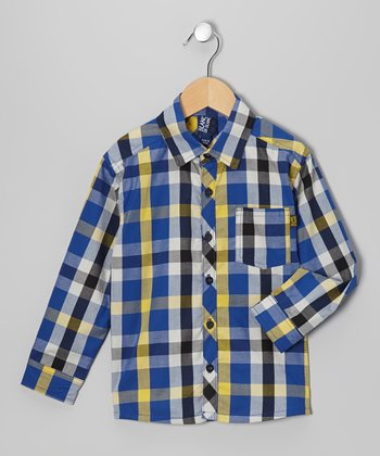 Blue & Yellow Checkerboard Button-Up - Infant, Toddler & Boys