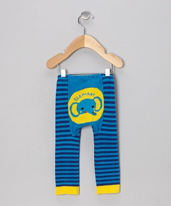 Blue Stripe Elephant Leggings