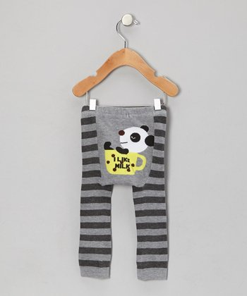 Gray Stripe Panda Leggings