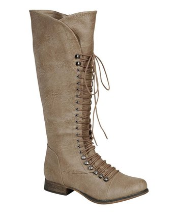 Beige Georgia-35 Lace-Up Boot