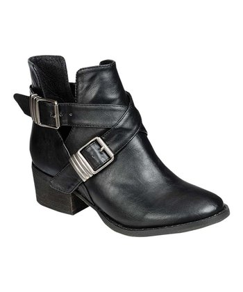 Black Bronco Buckle Ankle Boot