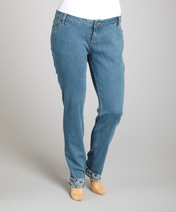 Blue Embellished-Cuff Skinny Jeans - Plus