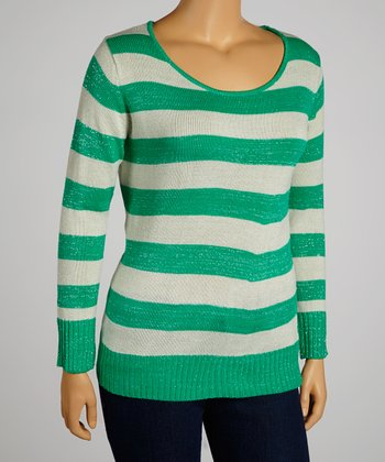 Green & Gray Stripe Top - Plus