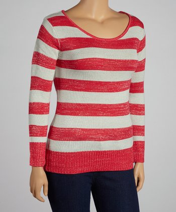 Magenta & Gray Stripe Top - Plus