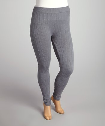 Gray Cable-Knit Leggings - Plus
