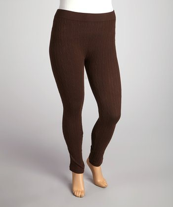 Brown Cable-Knit Leggings - Plus