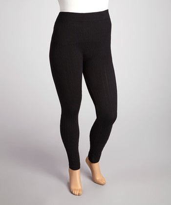 Black Cable-Knit Leggings - Plus