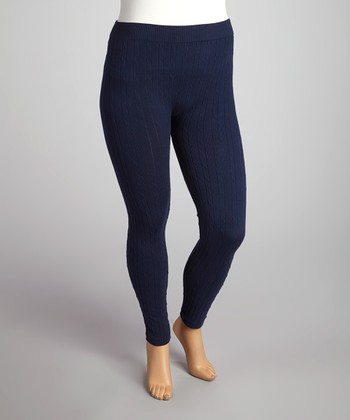 Navy Cable-Knit Leggings - Plus