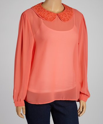 Coral Sheer Peter Pan Top - Plus