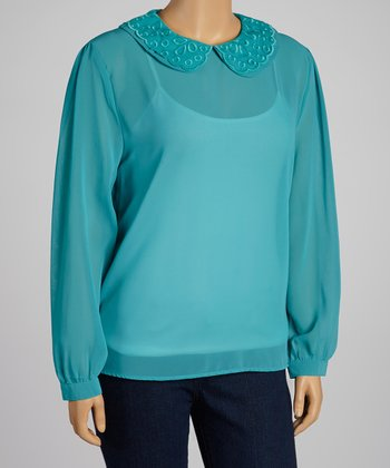 Turquoise Sheer Woven Peter Pan Top - Plus