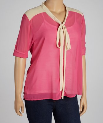 Pink Front-Tie Top - Plus