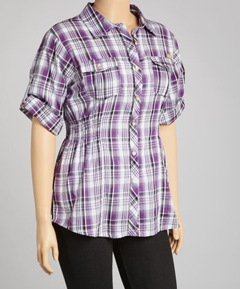 Purple Plaid Button-Up - Plus