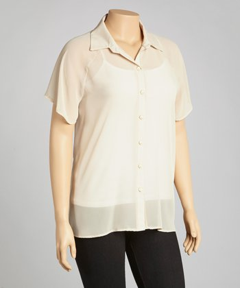 Beige Sheer Lace Button-Up - Plus