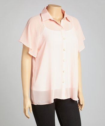Peach Sheer Lace Button-Up - Plus