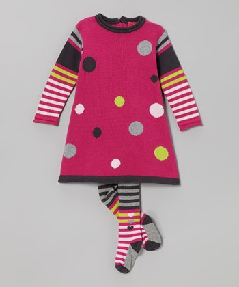 Fuchsia Polka Dot Sweater Dress & Tights - Infant & Toddler