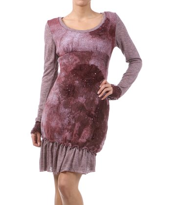 Plum Ruffle Empire-Waist Dress