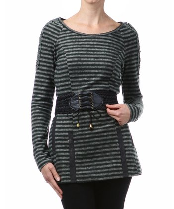 Green Stripe Belted Boatneck Tunic